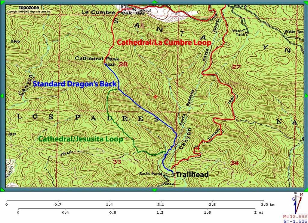 Route Map for Cathedral Peak (Santa Barbara)