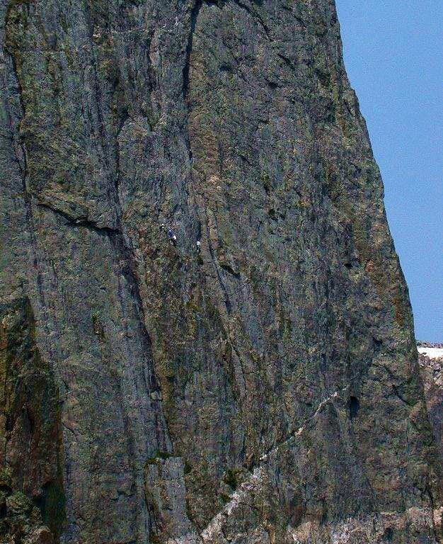 Climbers on the North Face of Hallett Peak