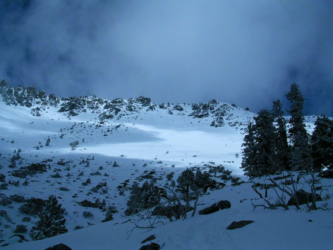 Ski Hut Trail in oncoming storm