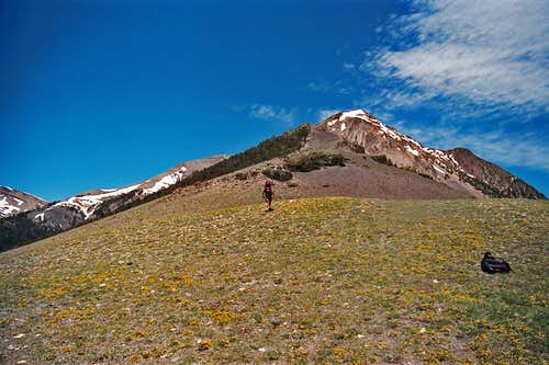 running up the southeastern ridge