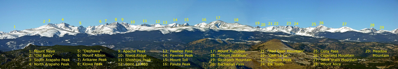 Panoramic view of the Indian Peaks. SP member: Brenta.