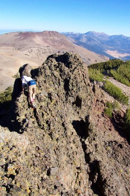 Traversing the summit crag...