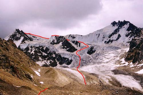 Rupal Peak s summit route