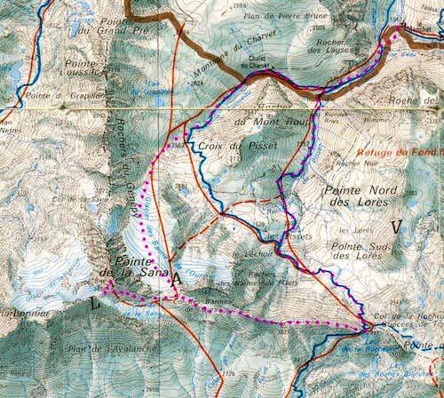 Map of Pointe de la Sana area