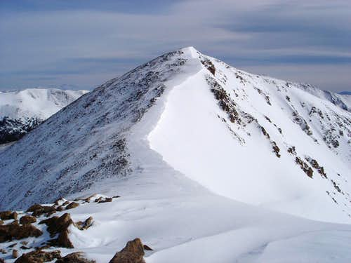 Late March conditions of the Mt. Sniktau ridge