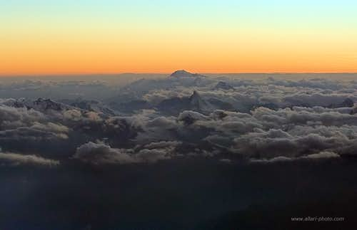 the Alps at twilight - aerial