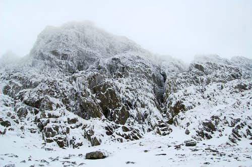 Start of Right Hand Y Gully, Cwm Cneifon
