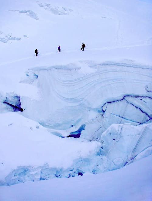 The icefall on Weissmies ascent