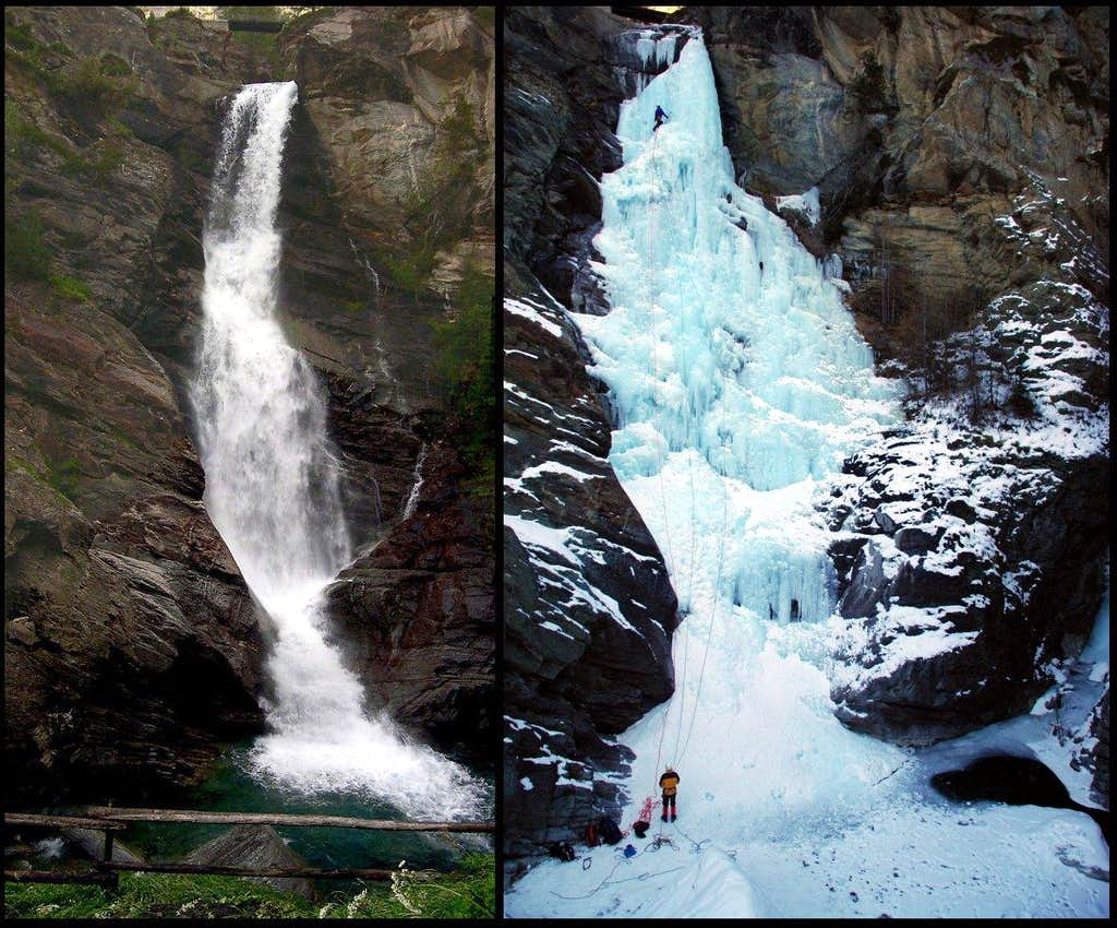 Comparison between summer and winter <br>look of Lillaz waterfall