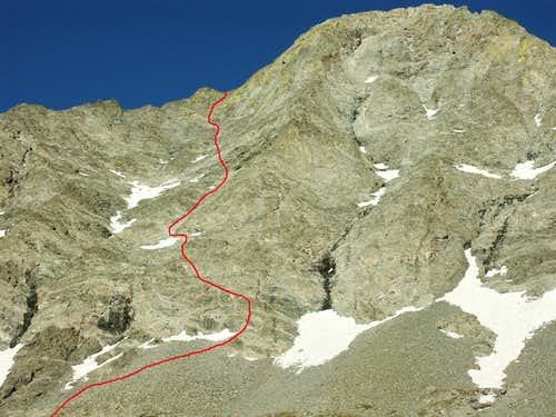 The NW Face route of Little Bear in June 2004