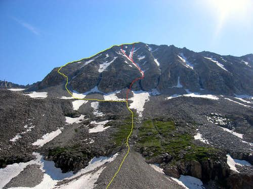 Routes on Snowmass west face