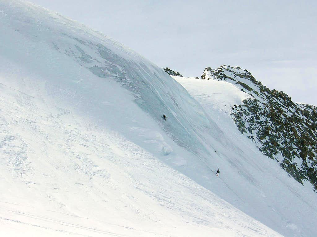 Ice climbing on the north face of Zuckerhuetl