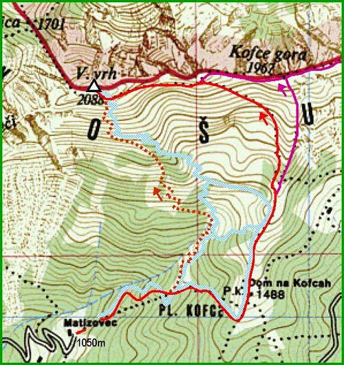 The map of Veliki vrh
