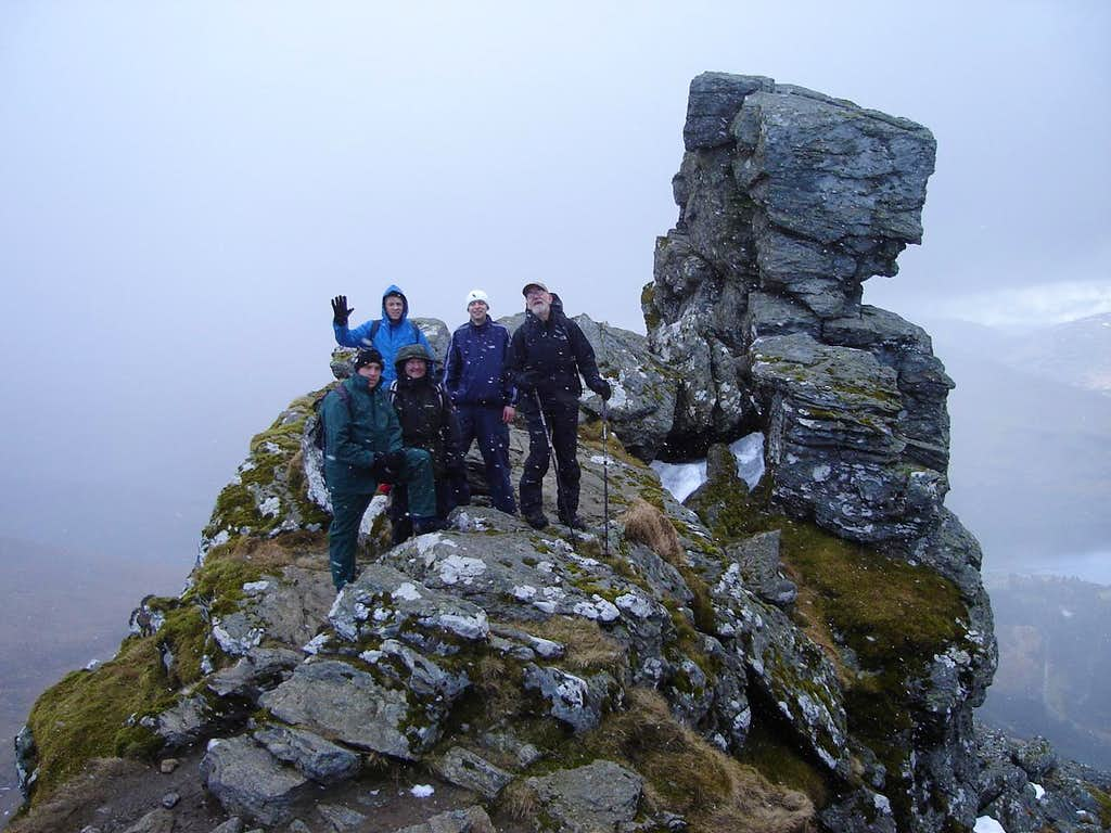 All the group just beneath the summit of the cobbler.