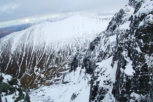 Top Section of Thompson\'s Route with Carn Mor Dearg rising in background