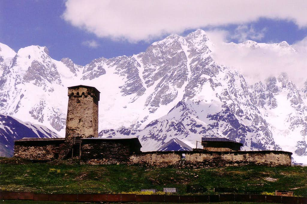 Shkhara rising above the village of Ushguli