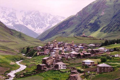 Ushguli village, Svaneti. Shkhara rises in the background