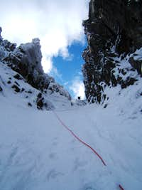A view up the final pitch of