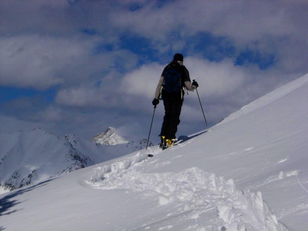 Skinning up Whitehouse Mountain's West Ridge