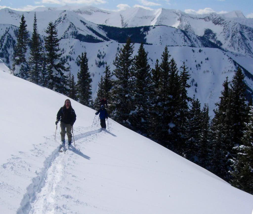 Sknining up Whitehouse Mountain's West Ridge