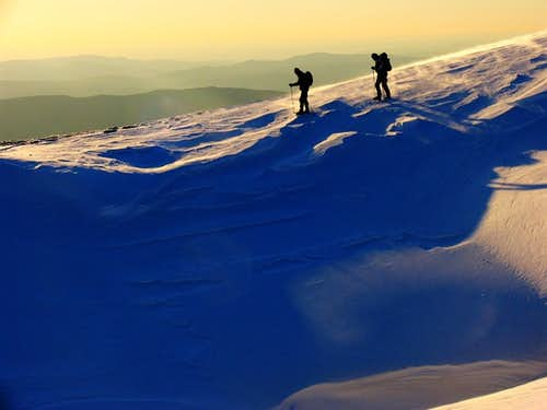 Walking on the ridge.