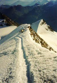 The Nadelhorn ridge with Ulrichshorn in view