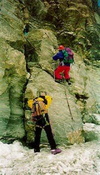 The very first step onto the Matterhorn Hörnligrat