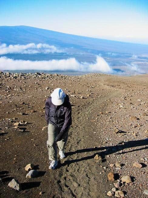 Kim hiking at the 11500-foot...