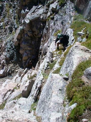 Downclimbing the ledges (Loft...