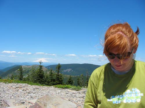 April at the summit of Chinidere Mt. with Mt. Adams in background