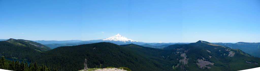 Panorama from summit of Wahtum Lake, Mt. Hood and Mark O. Hatfield Wilderness