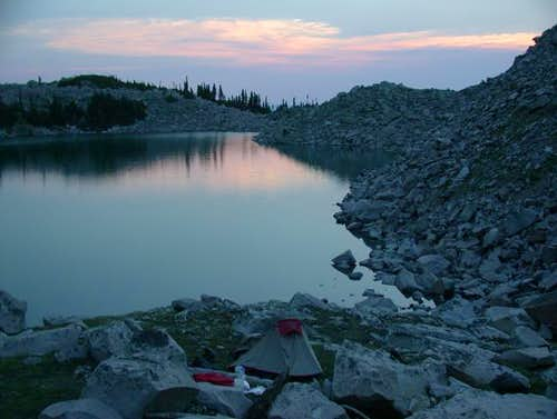 Moon Lake camp at sunset on...