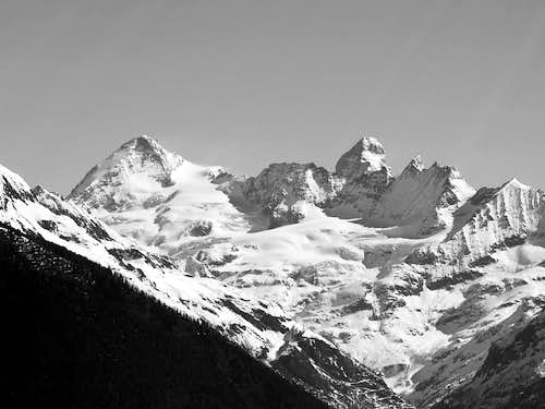 From left: La Dent d'Hérens...