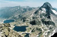 The Mighty Palas, the lakes of Artouste and Arremoulit, seen from the Pic d Arriel