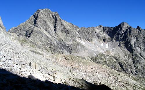 East Face of Palas and Port du Lavedan ( Left ) seen from the Col Noir Route to Balaitous.