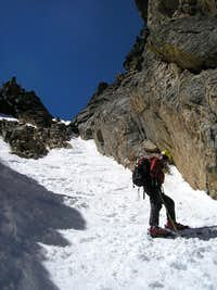 Skiing down the left fork of Dragon's Tail