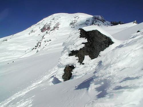 Mount Rainier and rime ice on...