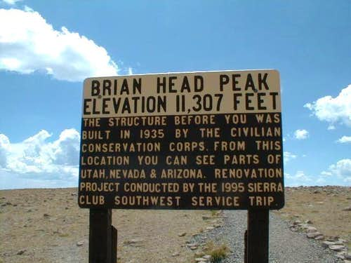 Brianhead Peak sign