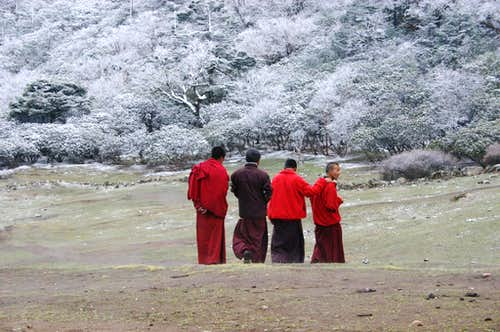 Monks from the Tengboche monastery