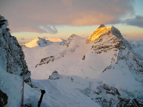 Morning view of Jungfrau from bivy
