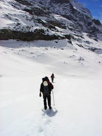 Approaching the ridge leading to Guggi Hutte