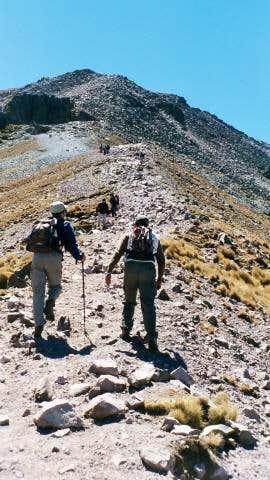 Hiking on the ridge leading...