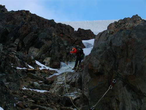 Hanging Belay -- Folly Couloir