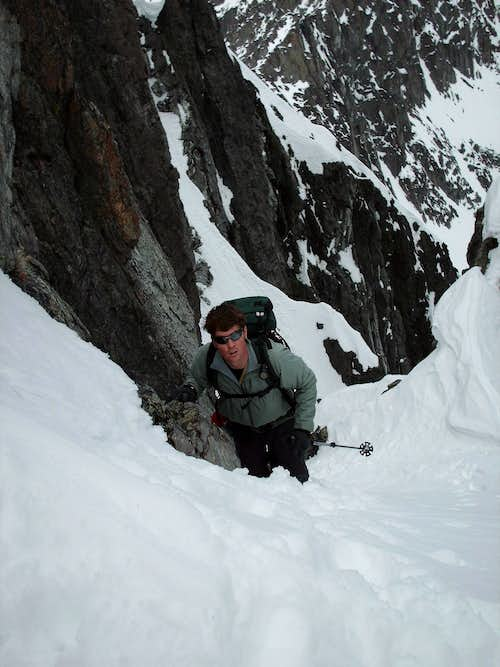 Climbing around the couloir