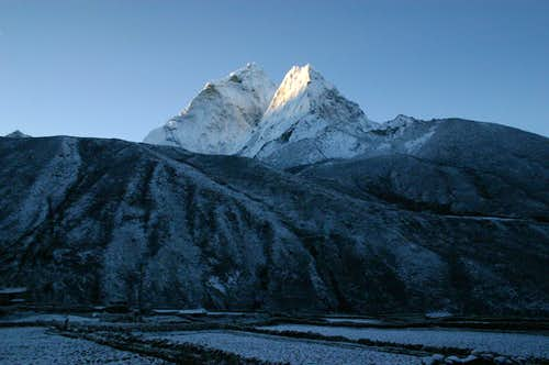 First light on Ama Dablam from Dingboche