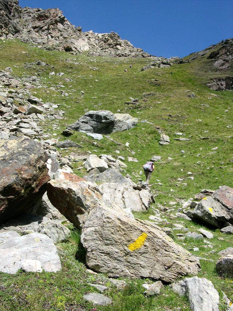 Along the  trail ascending to Colle Garin <i>2815m</i>