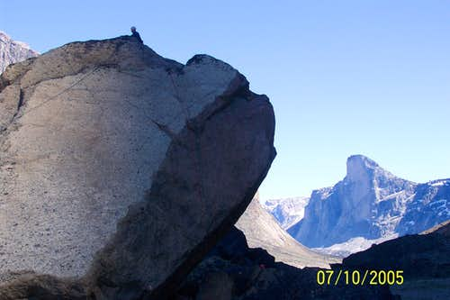 Artic Bouldering with Thor in the Background
