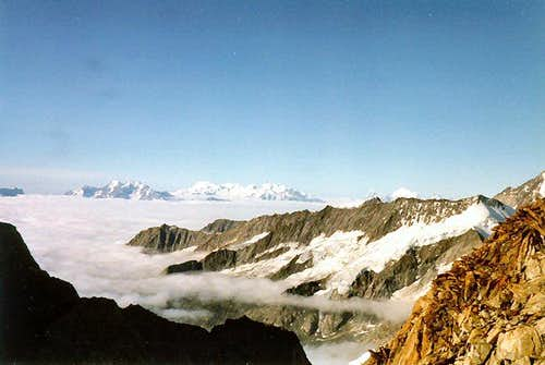 Monte Rosa, Matterhorn and Weisshorn can be seen looking south from Grünegghorn