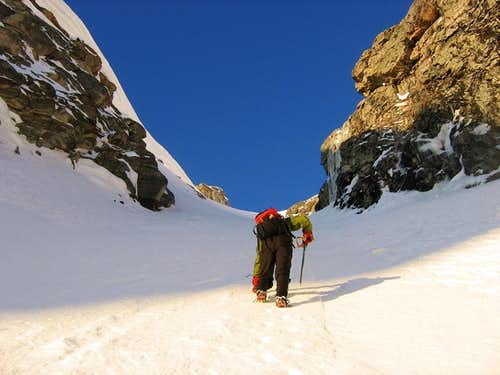 Ascending the Lower Couloir