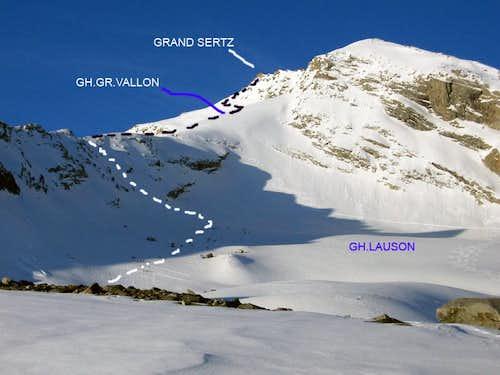 Normal route to Grand Sertz (Gran Serra) <i>3552m</i> through Lauson and Gran Vallon glaciers